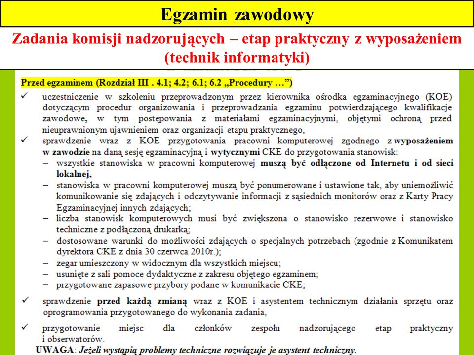 Egzamin zawodowy Zadania komisji nadzorujących – etap praktyczny z wyposażeniem (technik informatyki)