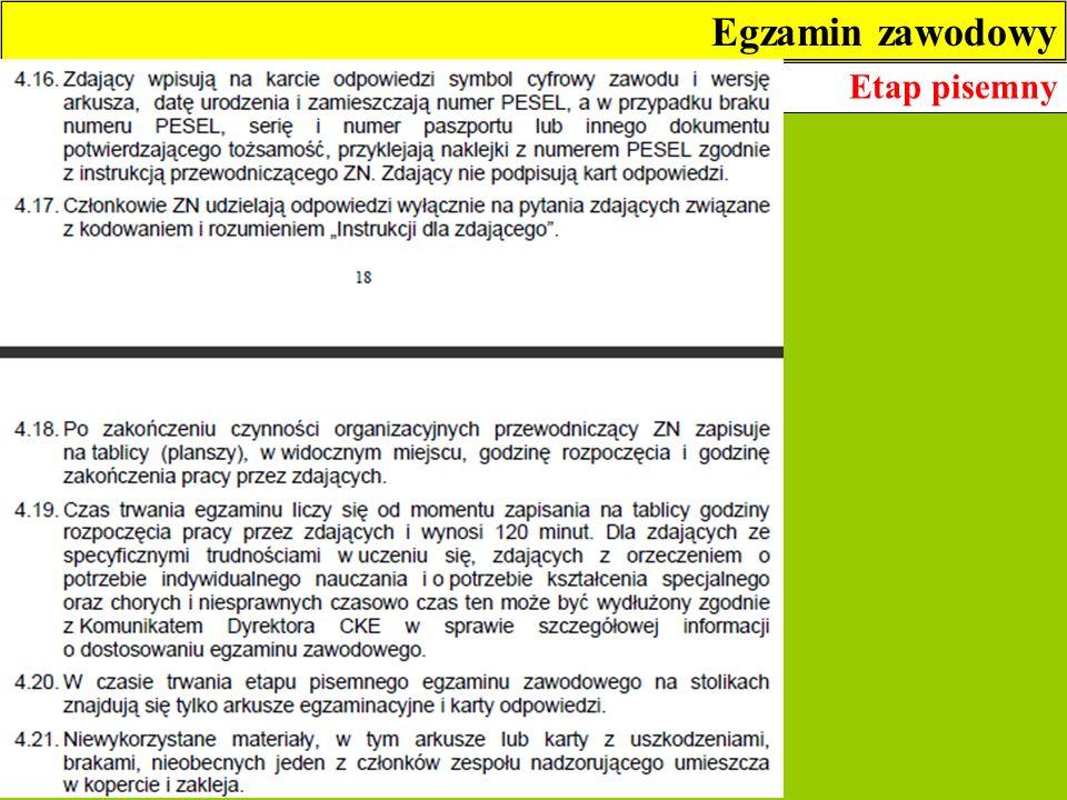 Egzamin zawodowy Etap pisemny 5