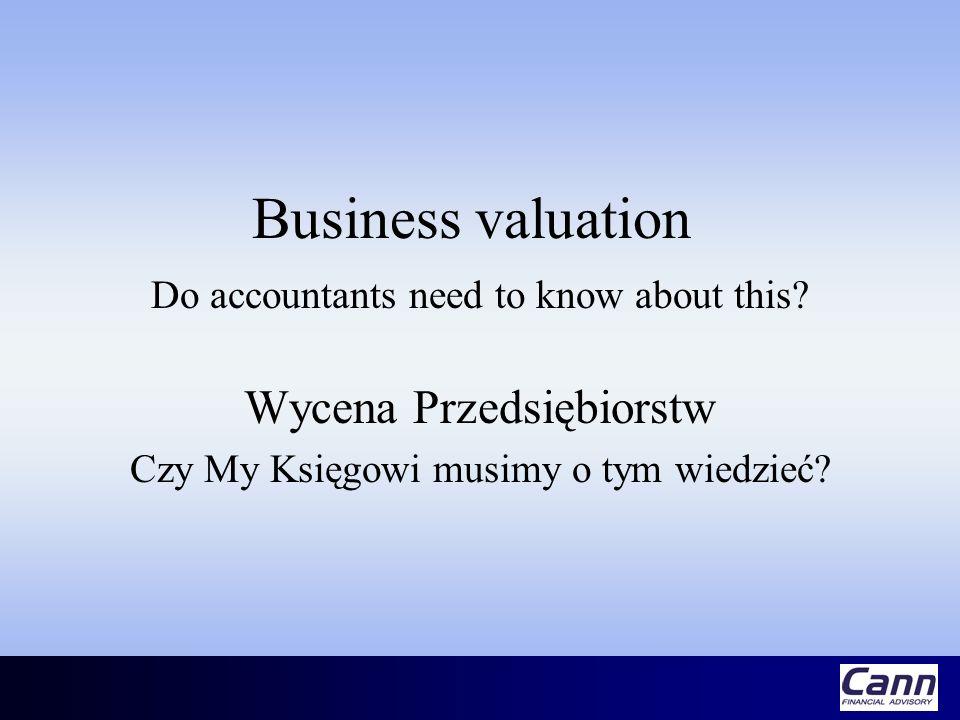 Business valuation Wycena Przedsiębiorstw