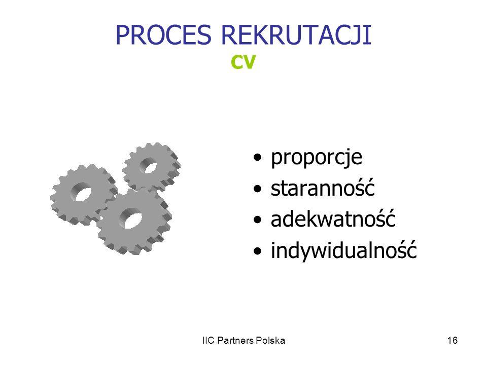 PROCES REKRUTACJI CV proporcje staranność adekwatność indywidualność
