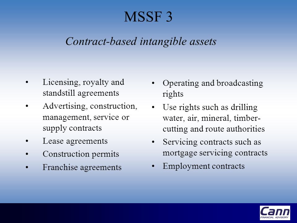 Contract-based intangible assets