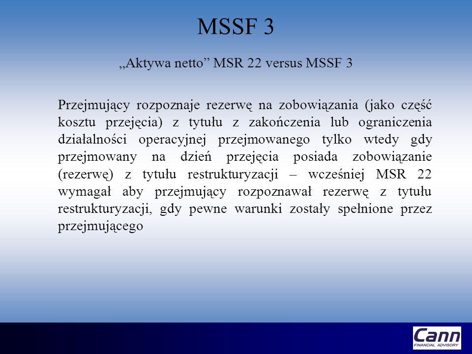 """""""Aktywa netto MSR 22 versus MSSF 3"""