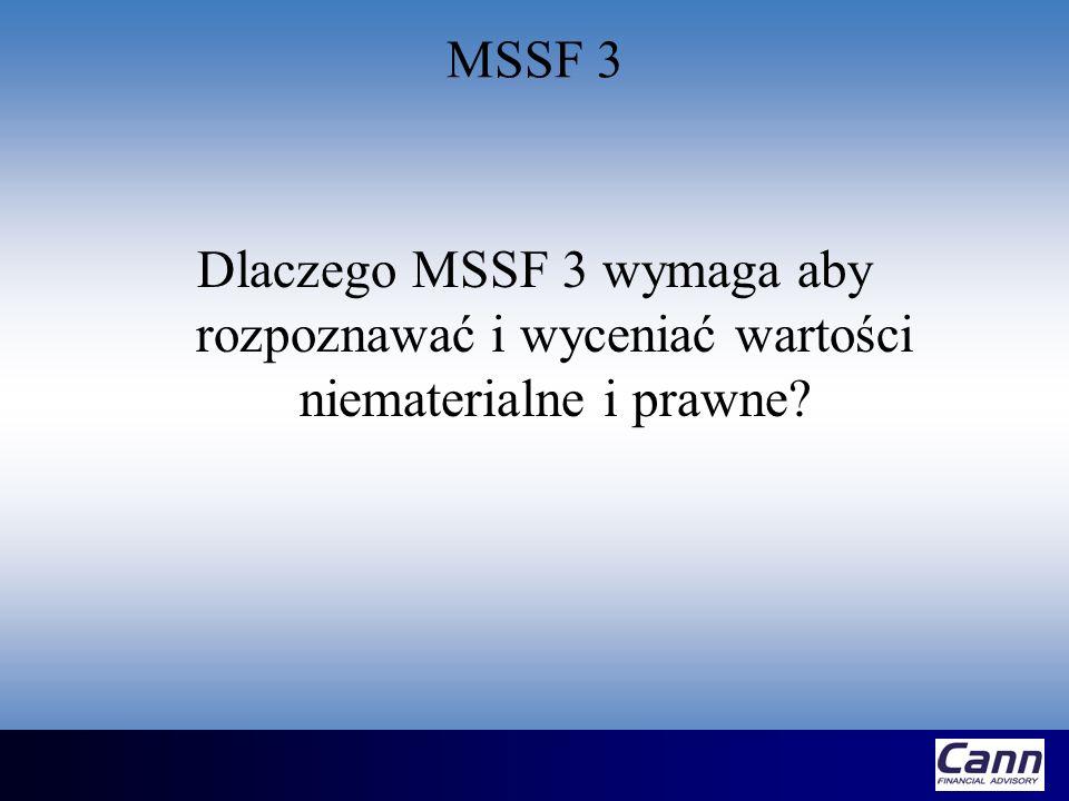 MSSF 3 Dlaczego MSSF 3 wymaga aby rozpoznawać i wyceniać wartości niematerialne i prawne