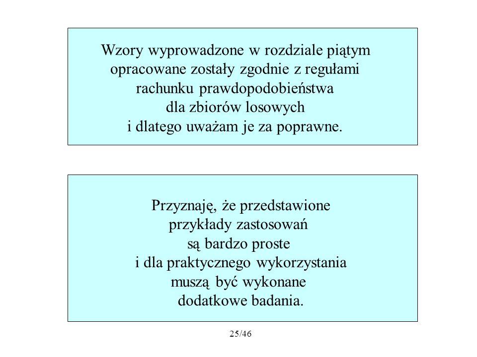 Wzory wyprowadzone w rozdziale piątym