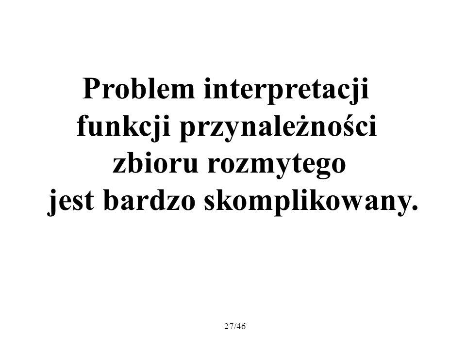 Problem interpretacji funkcji przynależności zbioru rozmytego