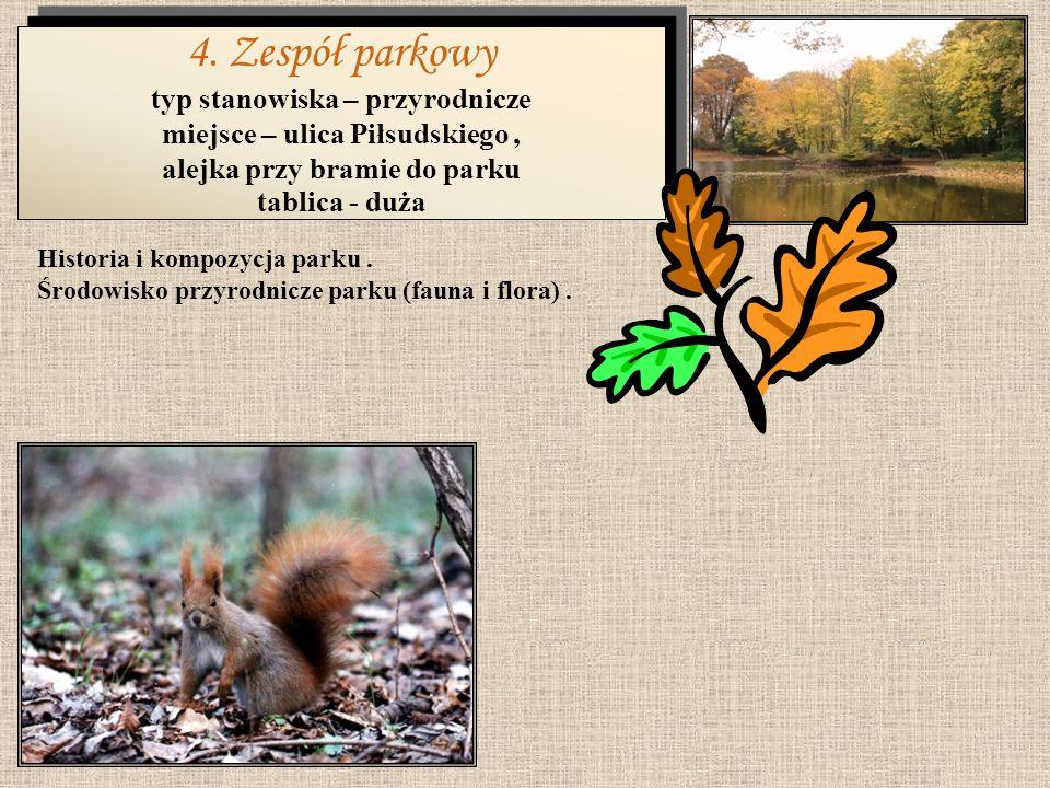 4. Zespół parkowy typ stanowiska – przyrodnicze