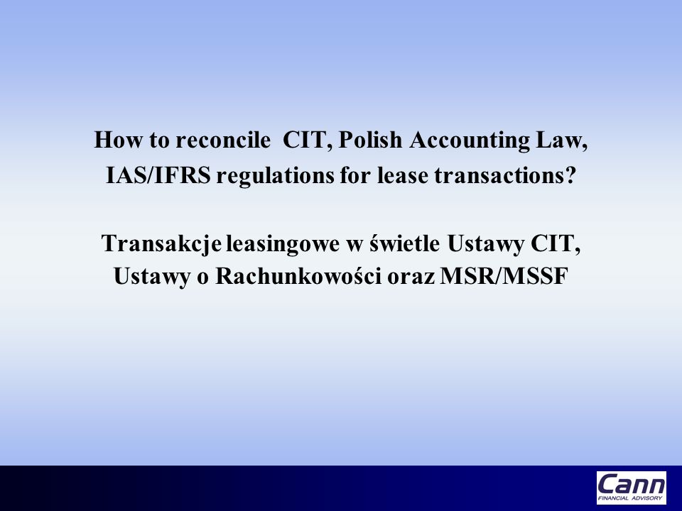 How to reconcile CIT, Polish Accounting Law,