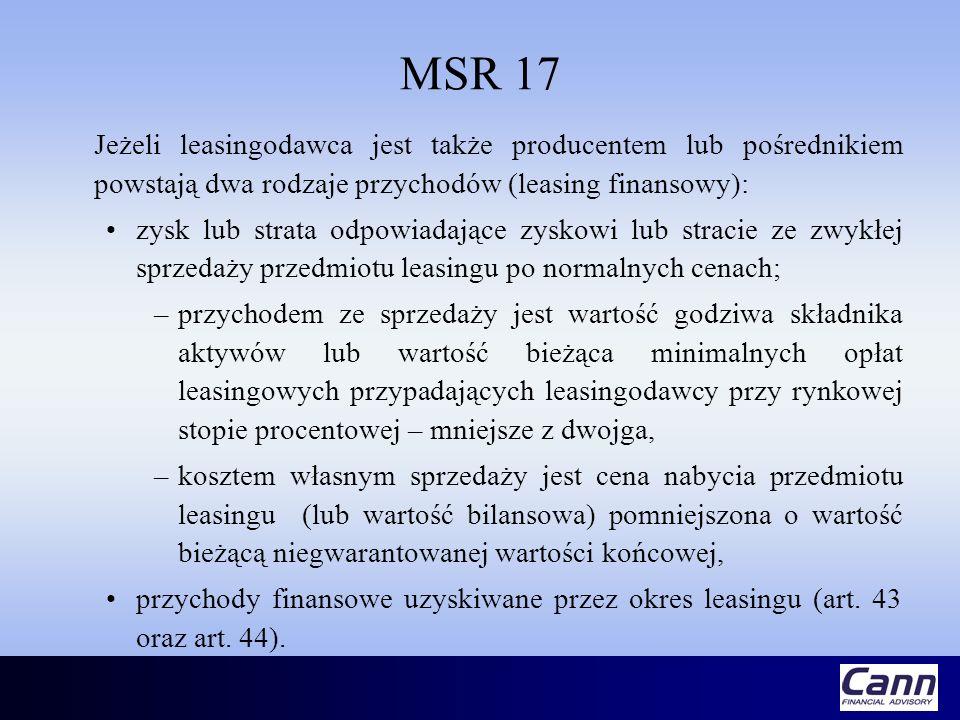 MSR 17 Jeżeli leasingodawca jest także producentem lub pośrednikiem powstają dwa rodzaje przychodów (leasing finansowy):