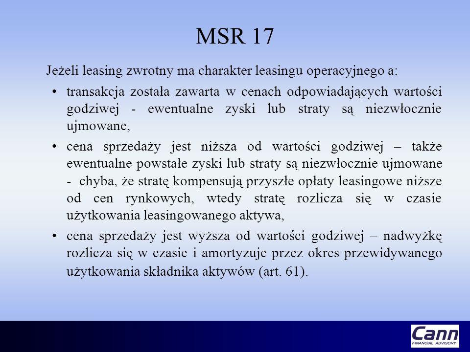 MSR 17 Jeżeli leasing zwrotny ma charakter leasingu operacyjnego a: