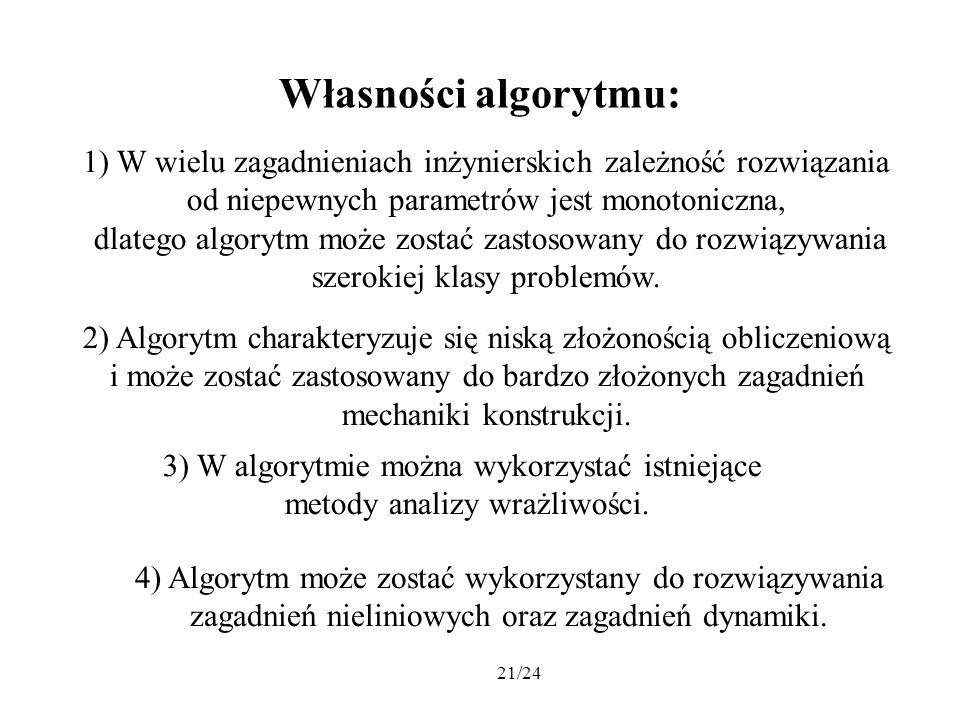 Własności algorytmu:1) W wielu zagadnieniach inżynierskich zależność rozwiązania. od niepewnych parametrów jest monotoniczna,