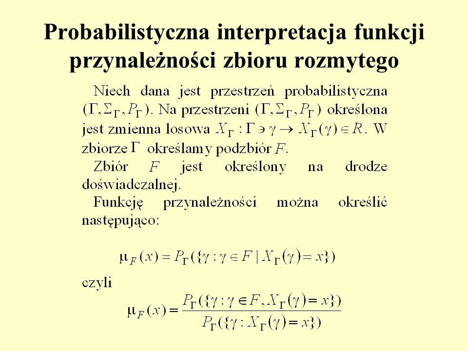 Probabilistyczna interpretacja funkcji przynależności zbioru rozmytego