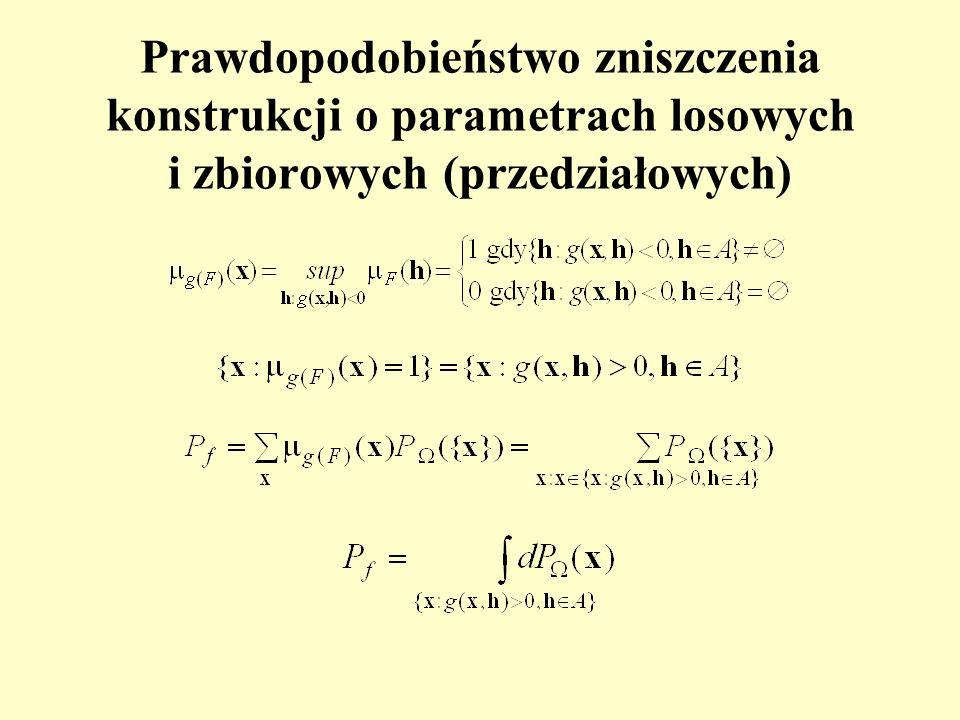 Prawdopodobieństwo zniszczenia konstrukcji o parametrach losowych i zbiorowych (przedziałowych)