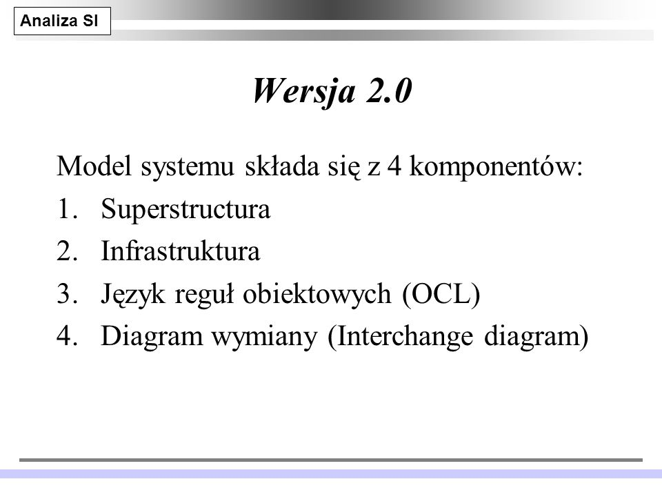 Wersja 2.0 Model systemu składa się z 4 komponentów: Superstructura