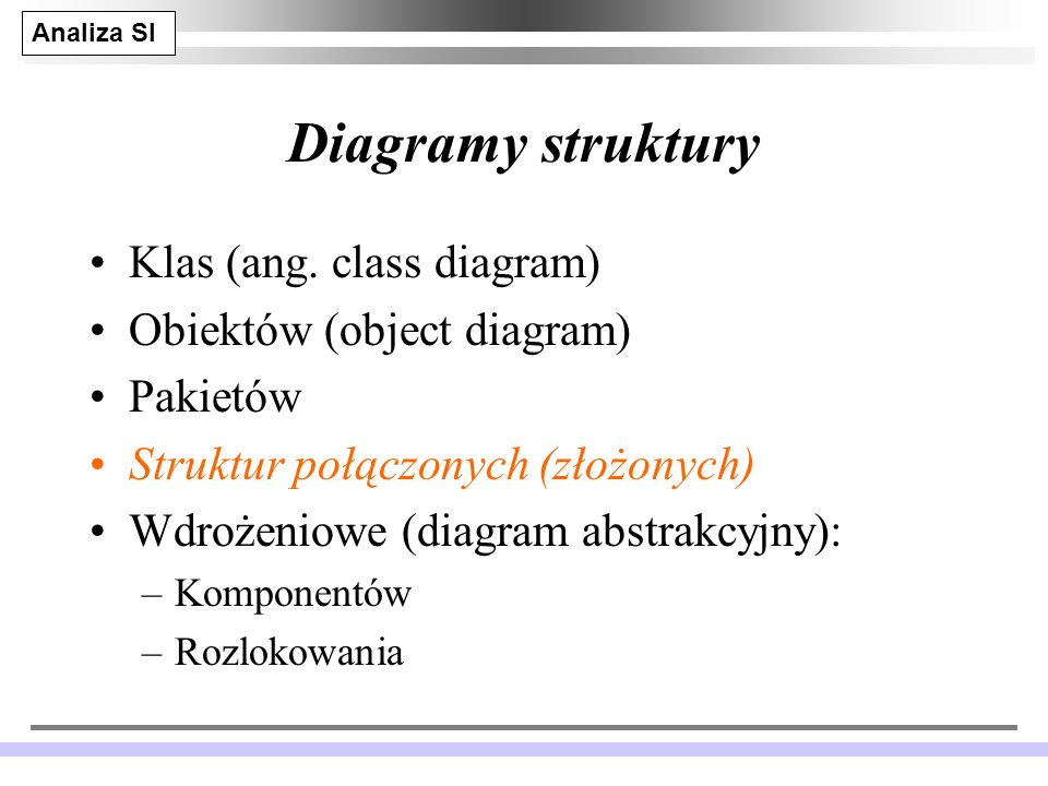 Diagramy struktury Klas (ang. class diagram) Obiektów (object diagram)