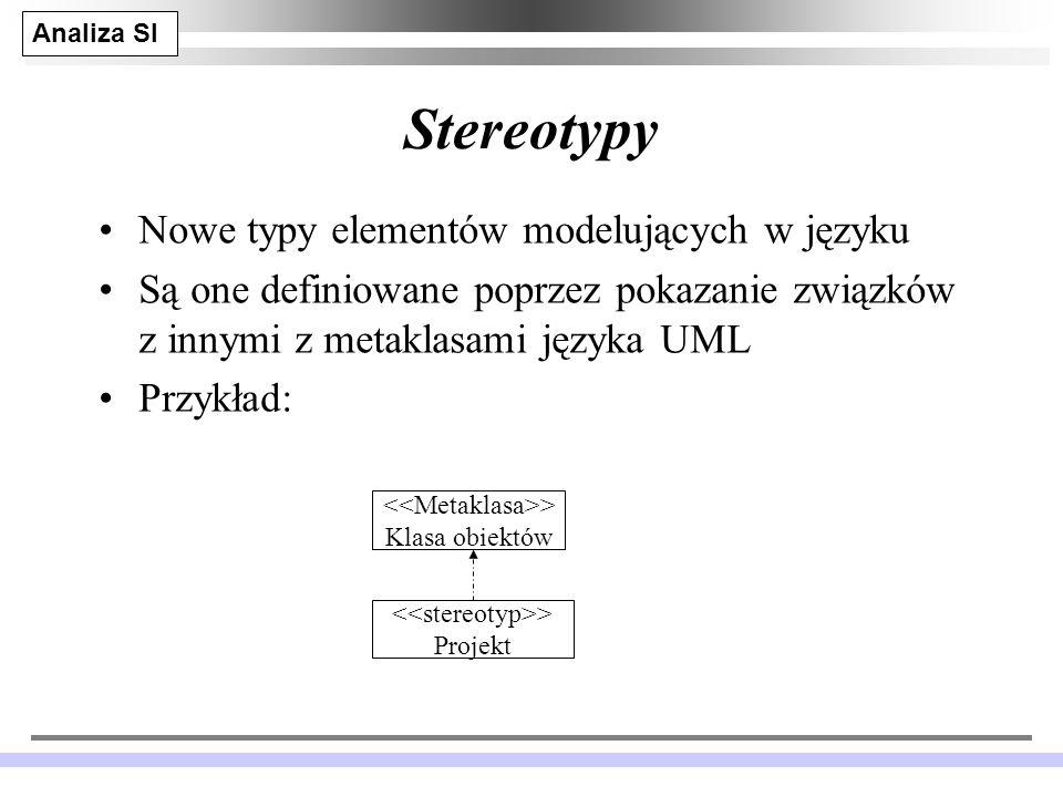 Stereotypy Nowe typy elementów modelujących w języku