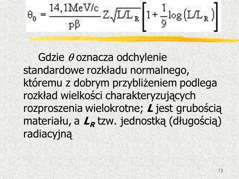 Gdzie q oznacza odchylenie standardowe rozkładu normalnego, któremu z dobrym przybliżeniem podlega rozkład wielkości charakteryzujących rozproszenia wielokrotne; L jest grubością materiału, a LR tzw.