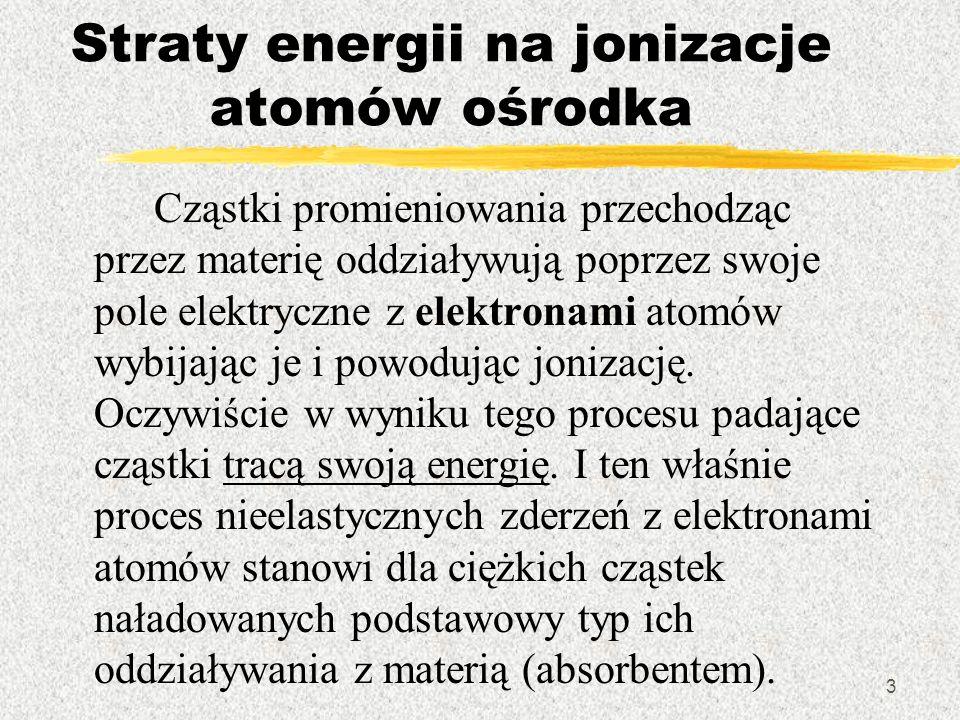 Straty energii na jonizacje atomów ośrodka