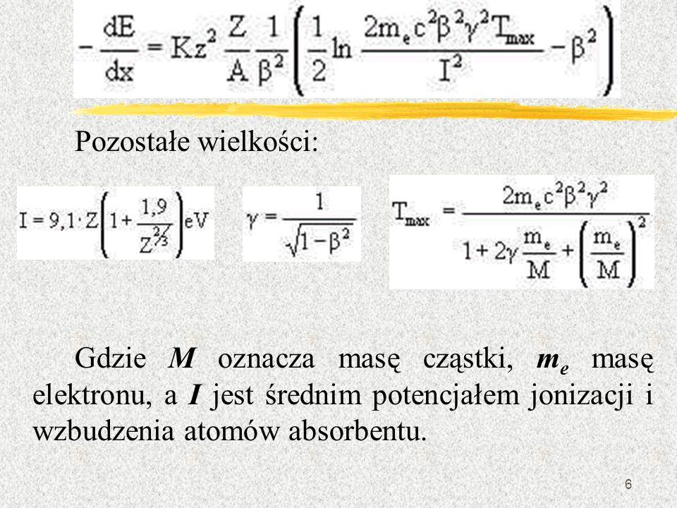 Pozostałe wielkości: Gdzie M oznacza masę cząstki, me masę elektronu, a I jest średnim potencjałem jonizacji i wzbudzenia atomów absorbentu.