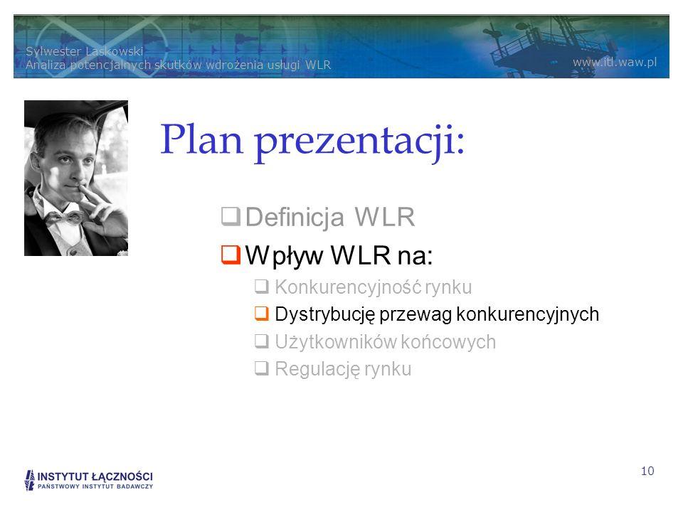 Plan prezentacji: Definicja WLR Wpływ WLR na: Konkurencyjność rynku
