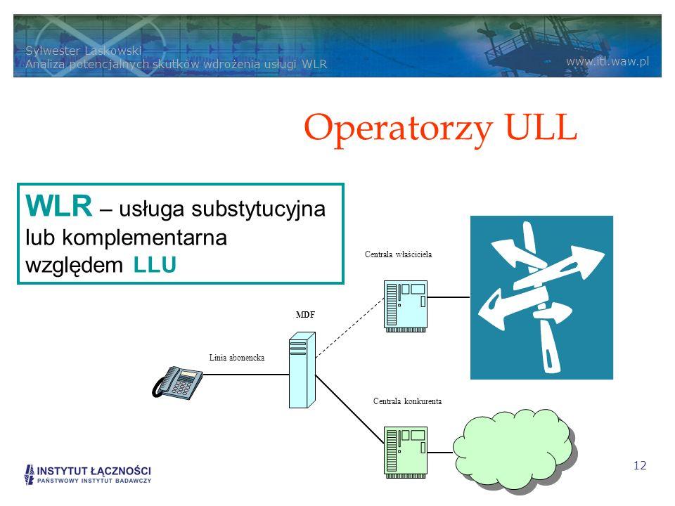 Operatorzy ULL WLR – usługa substytucyjna lub komplementarna względem LLU. Linia abonencka. MDF. Centrala właściciela.