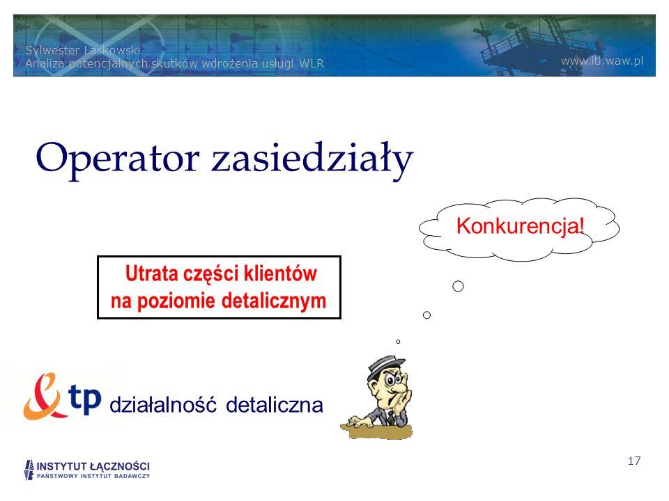 Operator zasiedziały Konkurencja! działalność detaliczna