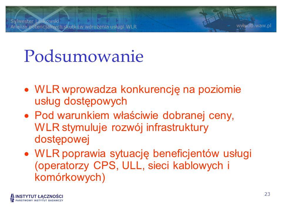 Podsumowanie WLR wprowadza konkurencję na poziomie usług dostępowych