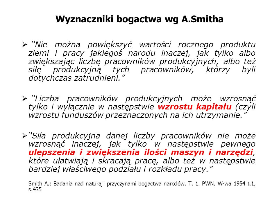 Wyznaczniki bogactwa wg A.Smitha