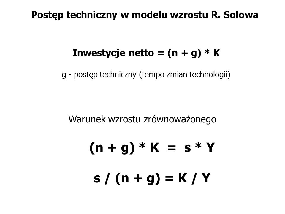 Postęp techniczny w modelu wzrostu R. Solowa