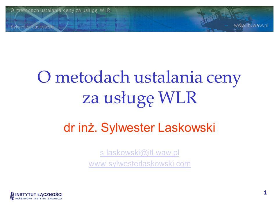 O metodach ustalania ceny za usługę WLR