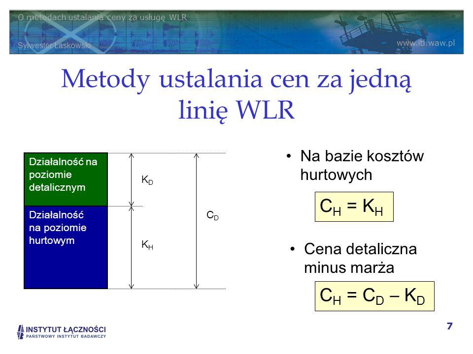 Metody ustalania cen za jedną linię WLR