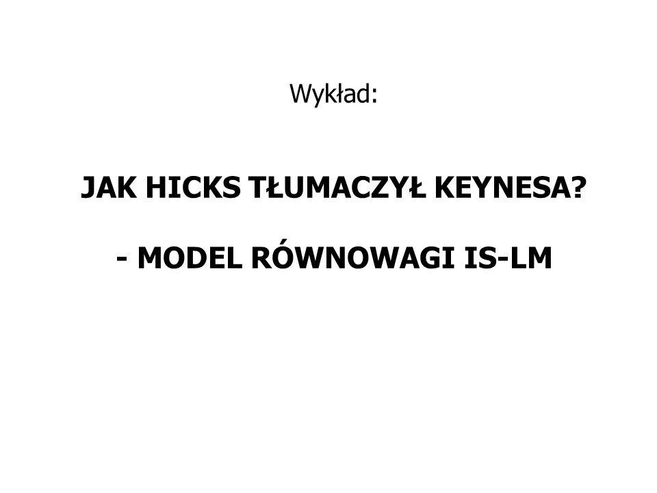 Wykład: JAK HICKS TŁUMACZYŁ KEYNESA - MODEL RÓWNOWAGI IS-LM