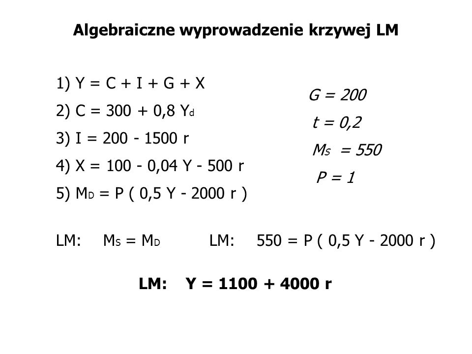 Algebraiczne wyprowadzenie krzywej LM