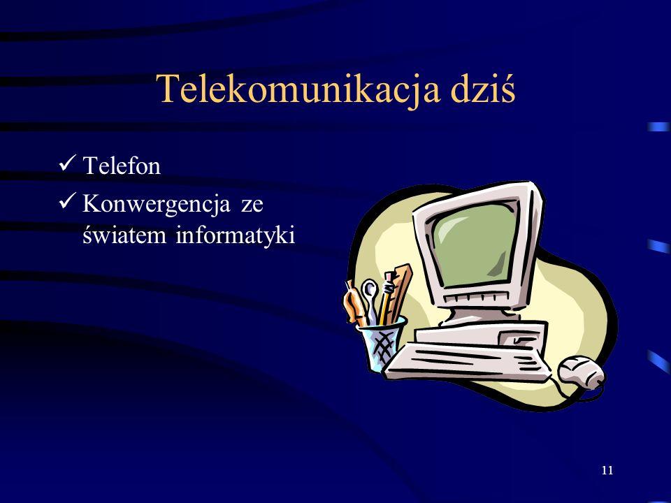 Telekomunikacja dziś Telefon Konwergencja ze światem informatyki