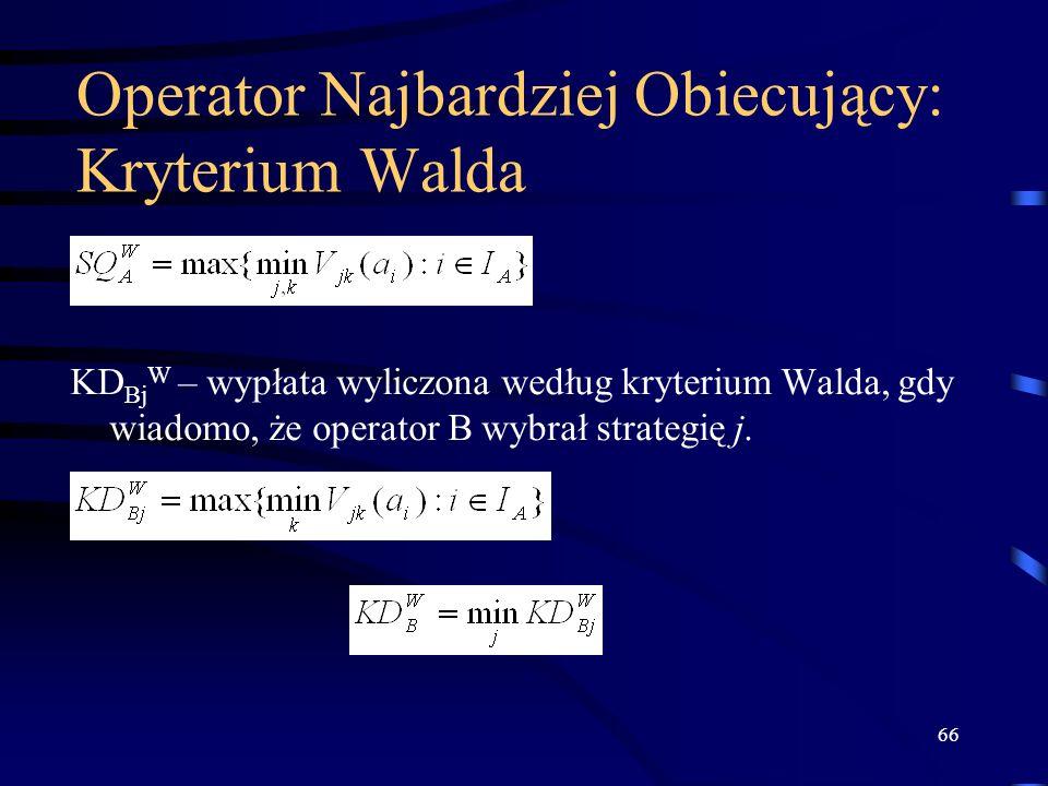 Operator Najbardziej Obiecujący: Kryterium Walda