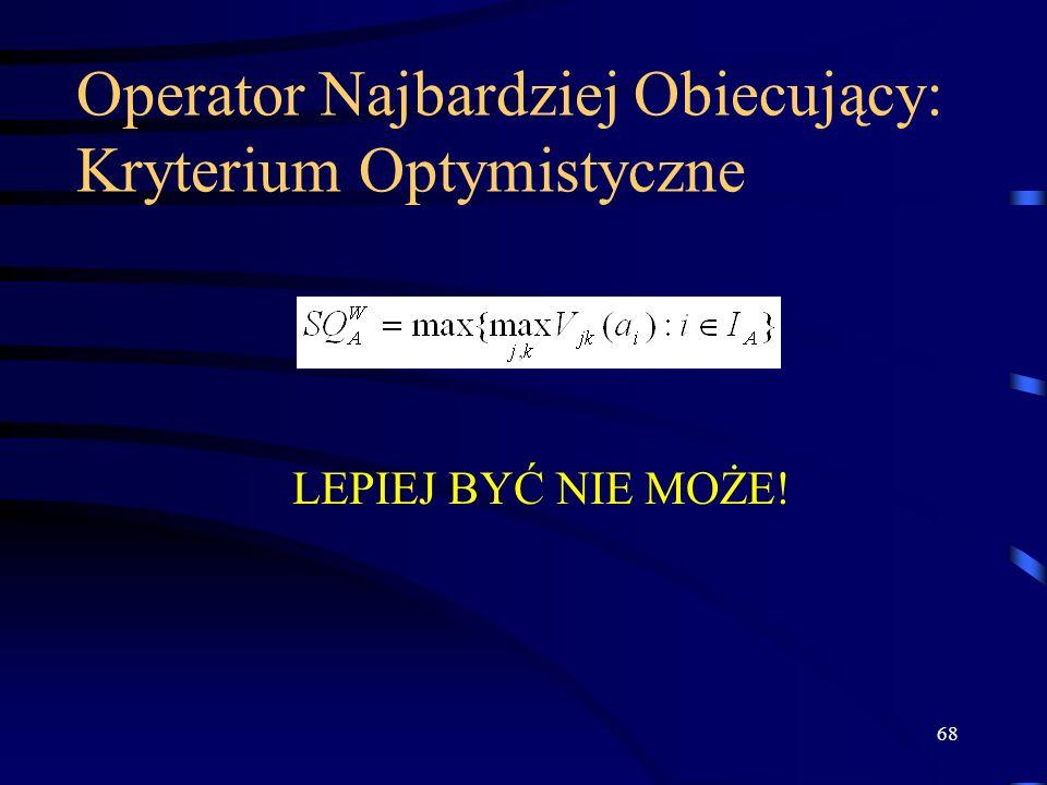Operator Najbardziej Obiecujący: Kryterium Optymistyczne