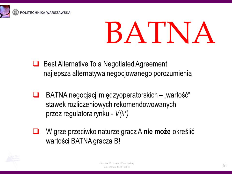 BATNA Best Alternative To a Negotiated Agreement najlepsza alternatywa negocjowanego porozumienia.