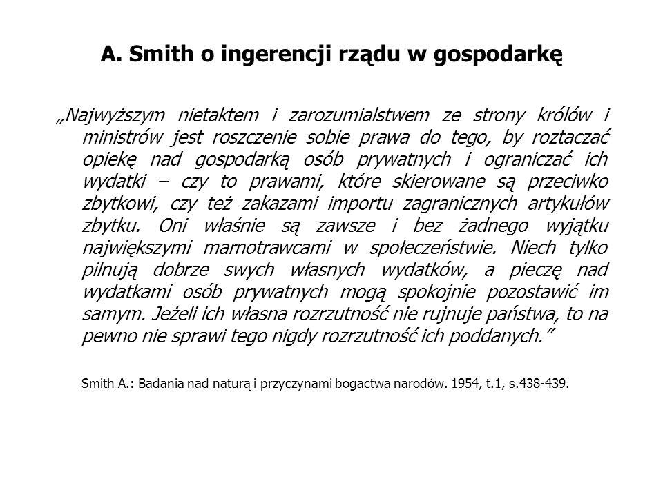 A. Smith o ingerencji rządu w gospodarkę