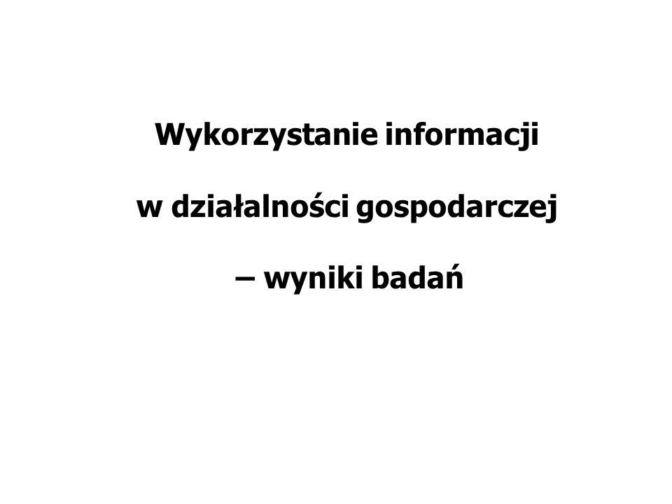 Wykorzystanie informacji w działalności gospodarczej