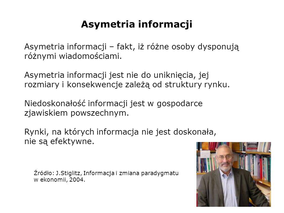 Asymetria informacji Asymetria informacji – fakt, iż różne osoby dysponują różnymi wiadomościami.