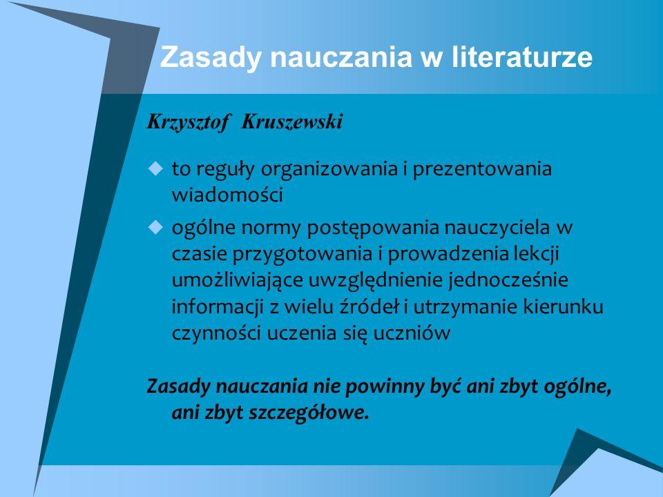 Zasady nauczania w literaturze