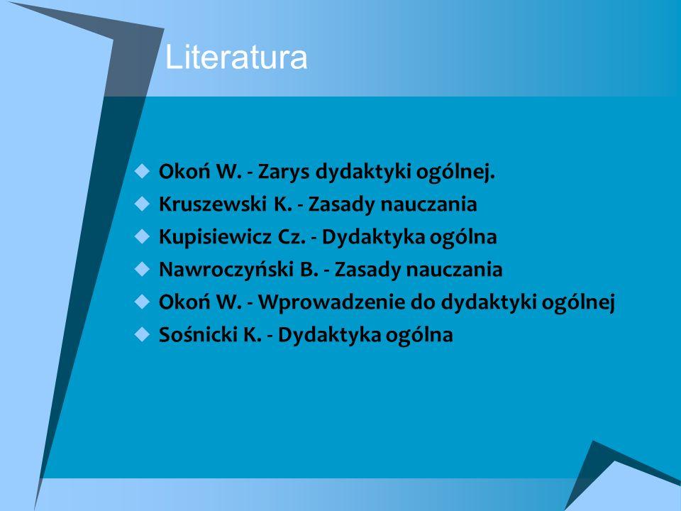 Literatura Okoń W. - Zarys dydaktyki ogólnej.