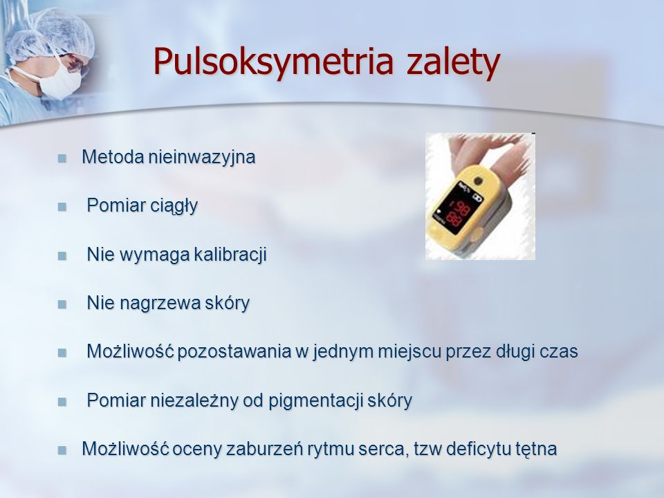 Pulsoksymetria zalety