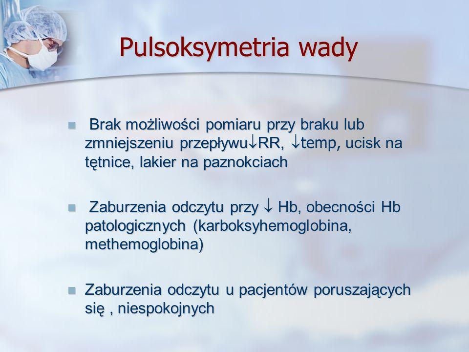 Pulsoksymetria wadyBrak możliwości pomiaru przy braku lub zmniejszeniu przepływuRR, temp, ucisk na tętnice, lakier na paznokciach.