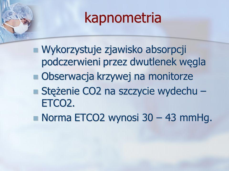 kapnometriaWykorzystuje zjawisko absorpcji podczerwieni przez dwutlenek węgla. Obserwacja krzywej na monitorze.