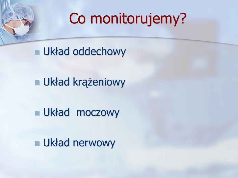 Co monitorujemy Układ oddechowy Układ krążeniowy Układ moczowy