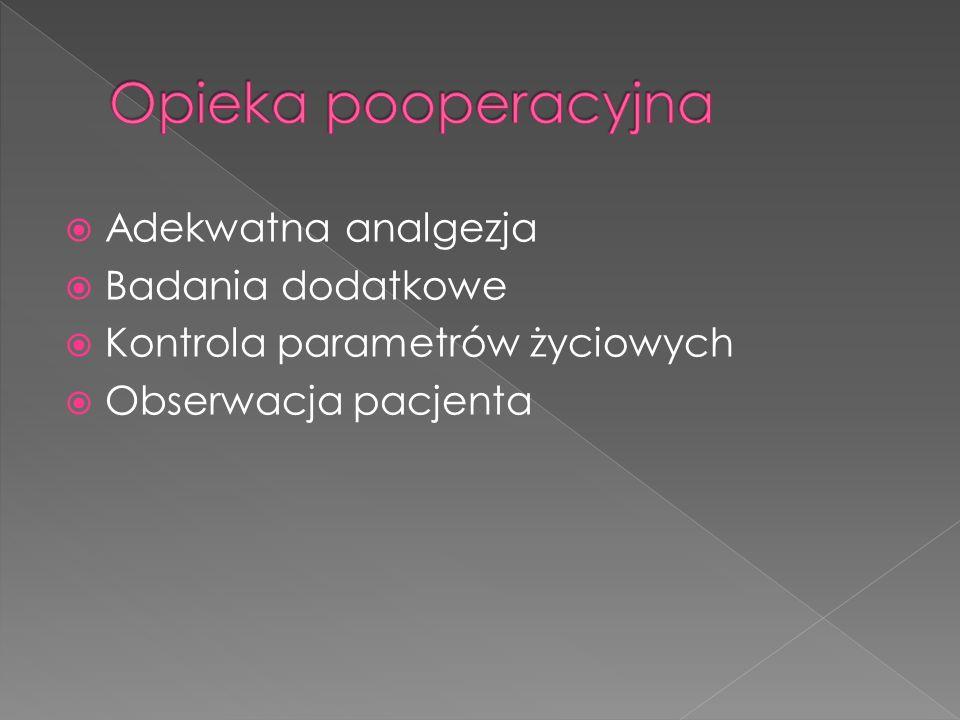 Opieka pooperacyjna Adekwatna analgezja Badania dodatkowe