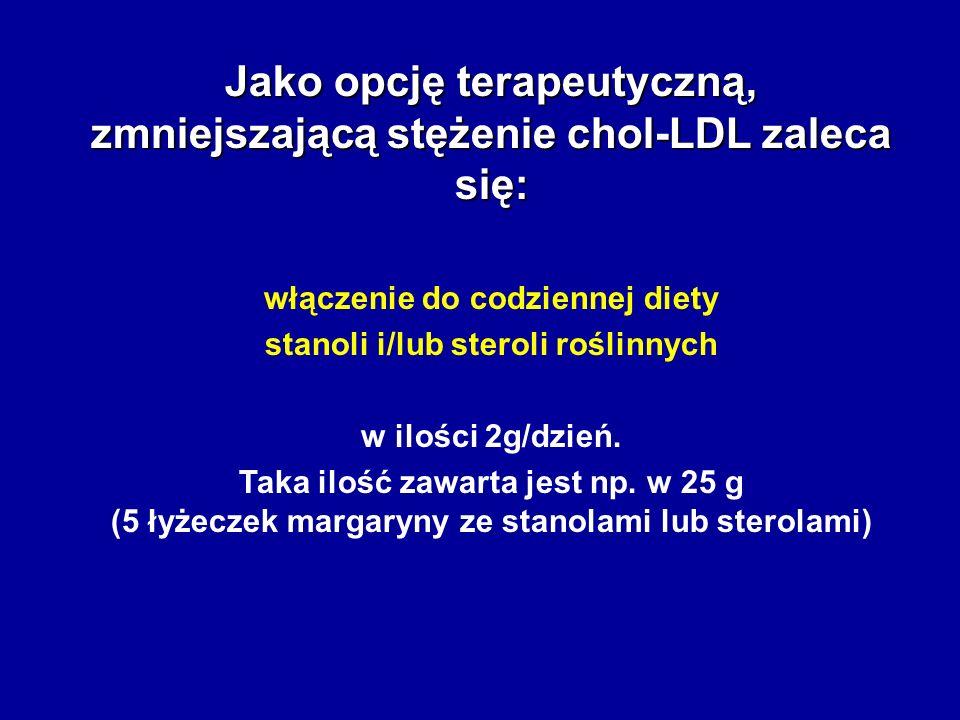 Jako opcję terapeutyczną, zmniejszającą stężenie chol-LDL zaleca się: