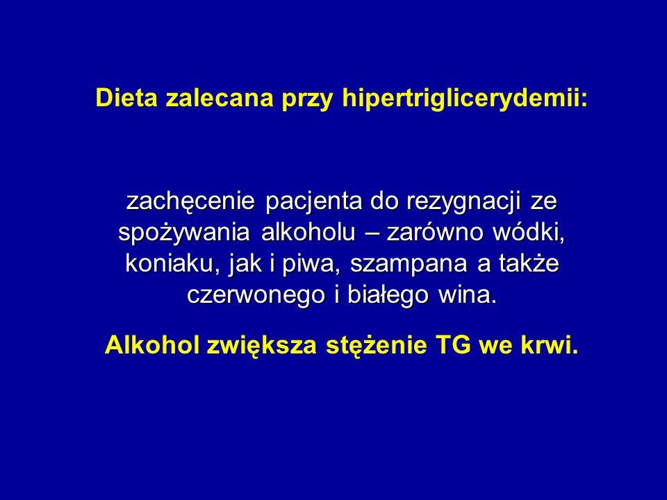 Dieta zalecana przy hipertriglicerydemii: