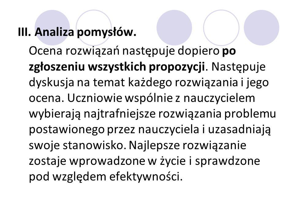 III. Analiza pomysłów.