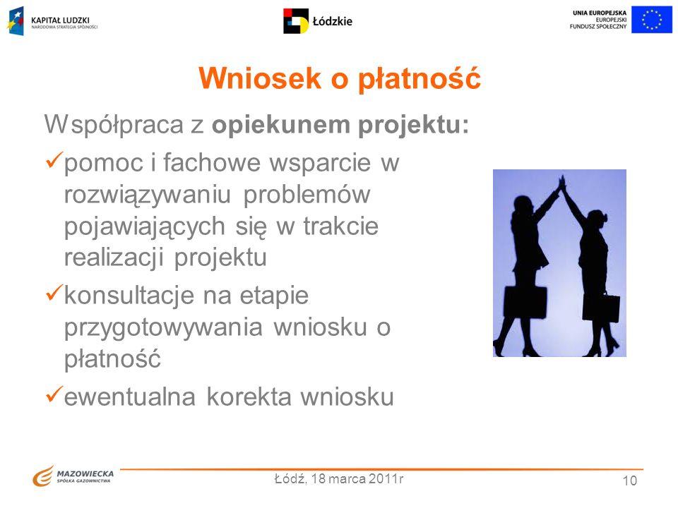 Wniosek o płatność Współpraca z opiekunem projektu: